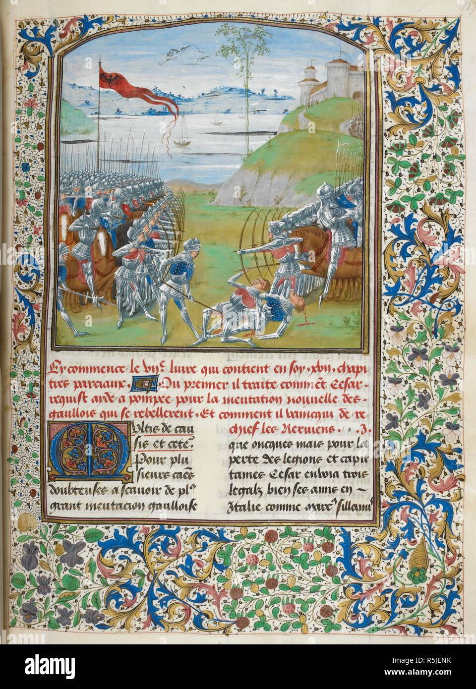 Ceasar and Pompey fighting the Gauls (Book 7).  A battle; archers facing each other, with mounted soldiers in the second line; landscape with castle and lake in background. Text beginning with decorated initial 'M'; borders with foliate decoration. Caesar, translated by Jan Du Quesne (or Jean Duchesne), Bellum Gallicum ( Les commentaires de Cesar ). 1473-1476. Source: Royal 16 G. VIII, f.189. Language: French. Author: JULIUS CAESAR. Du Quesne, Jehan. Master of the London Wavrin. - Stock Image