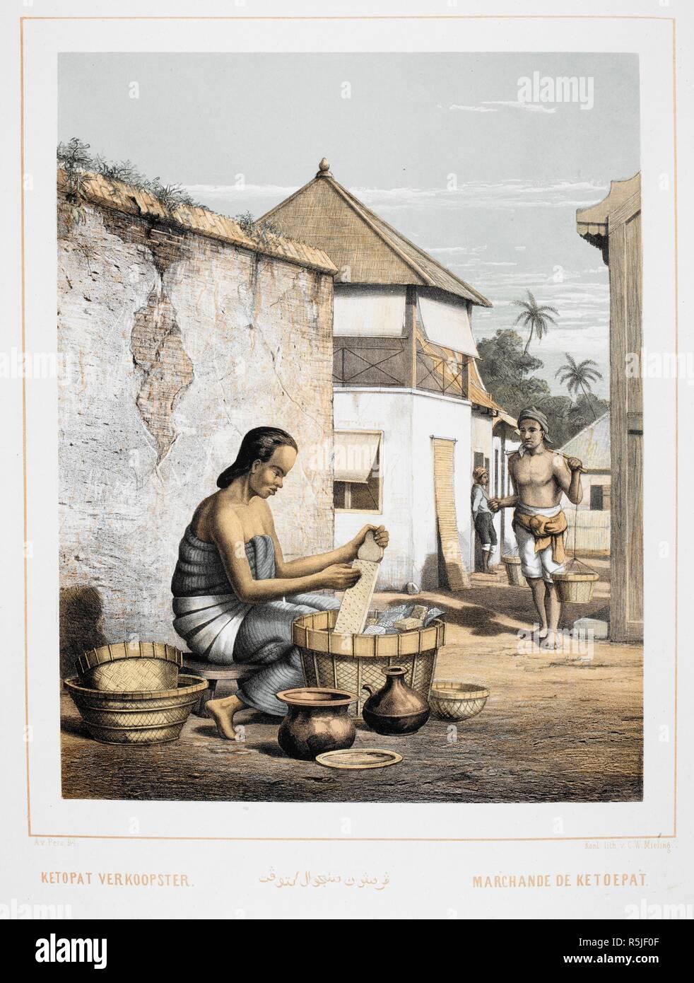 A seller of utensils. An inhabitant of Indonesia. Nederlandsch  Oost-Indischen Typen.