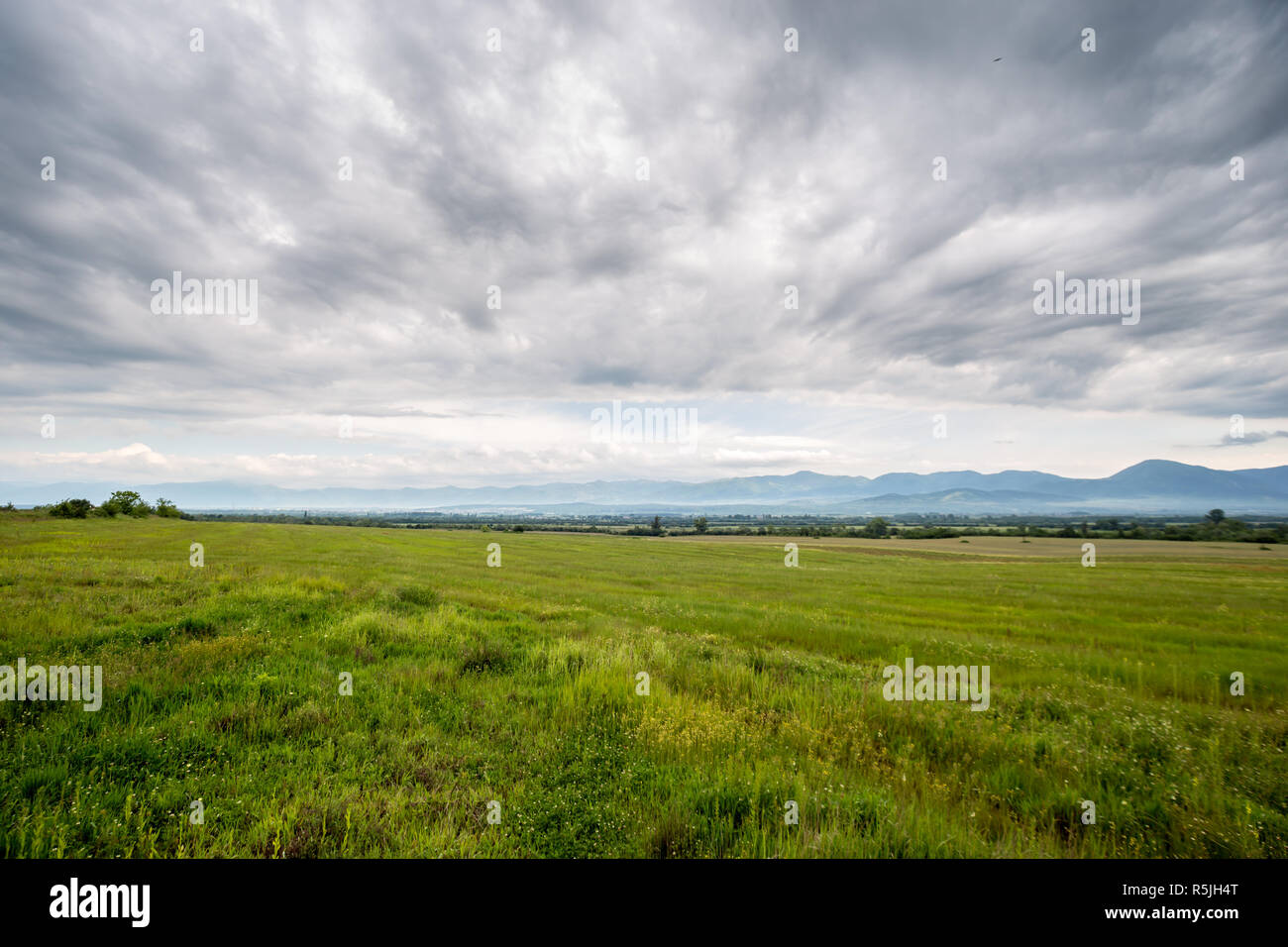 Landscape of the rose valley near Kazanlak, Bulgaria - Stock Image