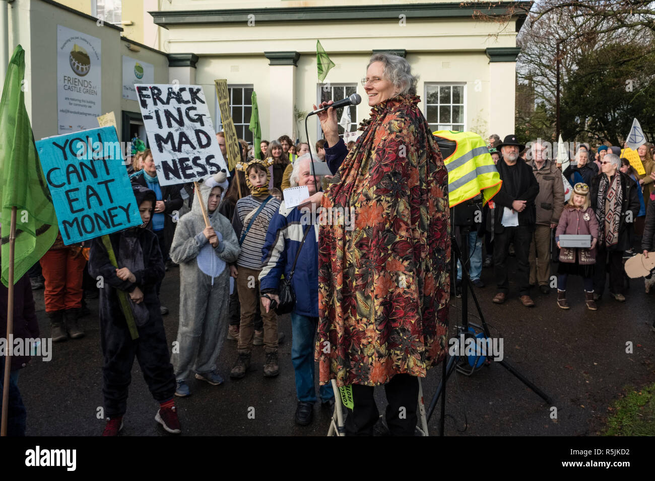 Hereford, UK. 1st December, 2018. Cathy Monkley, climate activist, speaking at a demonstration by he newly formed local branch of the Extinction Rebellion movement in this old cathedral city . Credit: Alex Ramsay/Alamy Live News - Stock Image