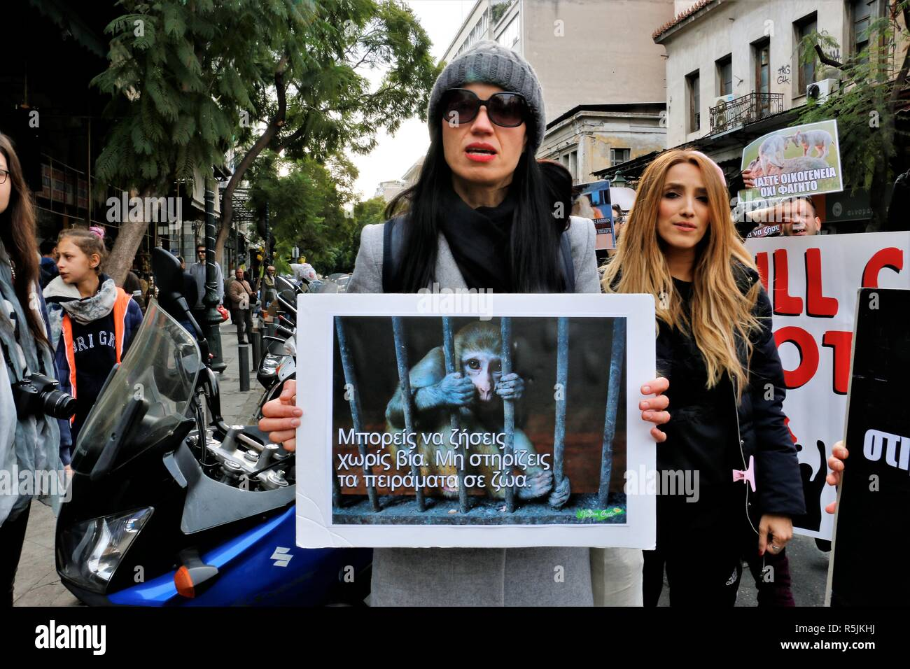 Athens, Greece. 1st Dec, 2018. A protester seen holding a placard during the protest.Animal right activists demonstrate in Athens against animals' abuse, violence, mistreatment towards animals and promoting a vegan way of life. Credit: Helen Paroglou/SOPA Images/ZUMA Wire/Alamy Live News - Stock Image