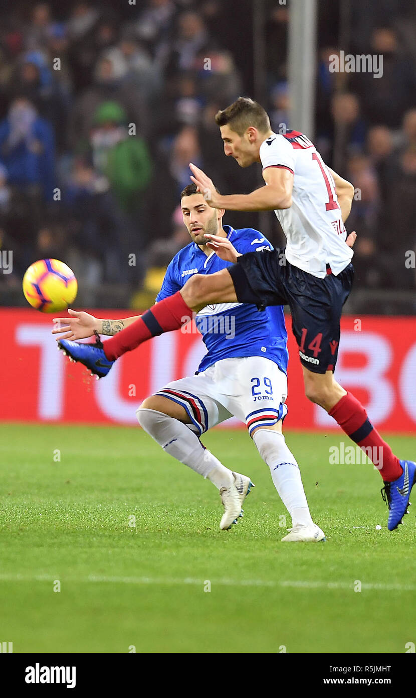 "Foto LaPresse - Tano Pecoraro 01 12 2018 Genova - (Italia) Sport Calcio Sampdoria vs Bologna Campionato di Calcio Serie A TIM 2018/2019 - Stadio ""Luigi Ferraris"" nella foto: murru nicola  Photo LaPresse - Tano Pecoraro 01 December 2018 City Genova - (Italy) Sport Soccer Sampdoria vs Bologna Italian Football Championship League A TIM 2018/2019 - ""Luigi Ferraris"" Stadium in the pic: murru nicola Stock Photo"