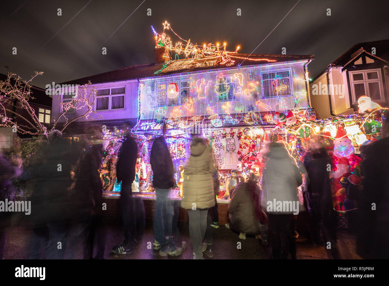 London, UK  1st Dec, 2018  Striking Christmas house lights display