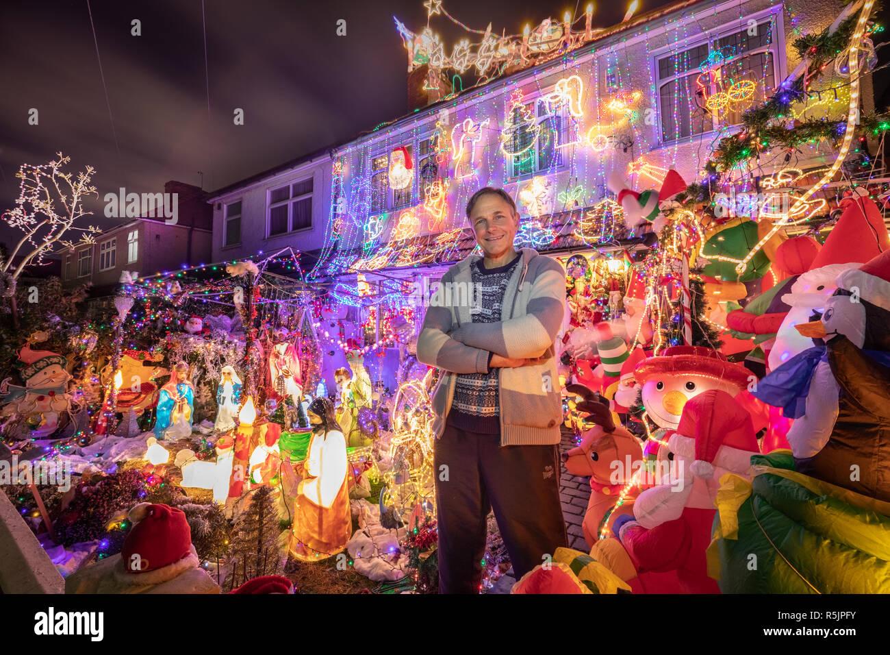 London, UK  1st Dec, 2018  Striking Christmas house lights display