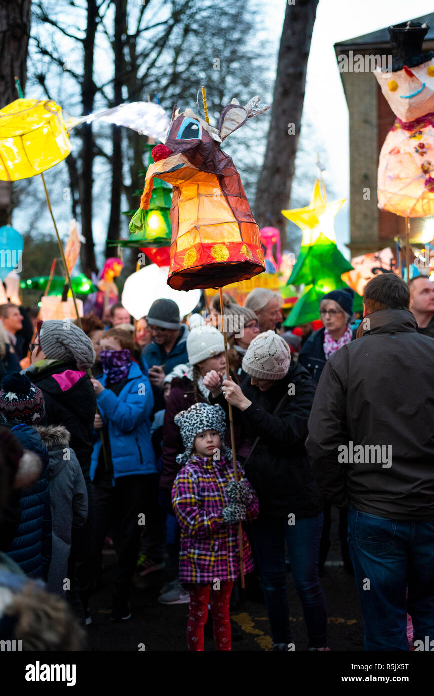 Milton Keynes, UK. 1st Dec, 2018. Over 200 lanterns join Stony Stratford Lantern Procession leading to the Christmas lights switching on ceremony. This year's theme for lanterns was 'Christmas at the movies.' Credit: David Isaacson/Alamy Live News - Stock Image