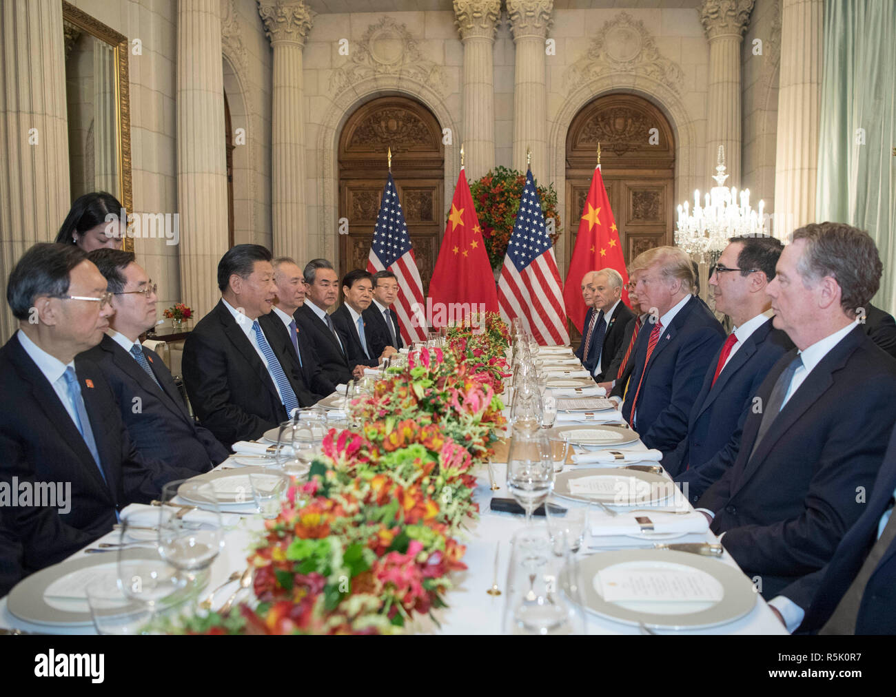 Buenos Aires, Argentina. 1st Dec, 2018. Chinese President Xi Jinping speaks during a working dinner with his U.S. counterpart Donald Trump in Buenos Aires, Argentina, Dec. 1, 2018. Credit: Li Xueren/Xinhua/Alamy Live News - Stock Image