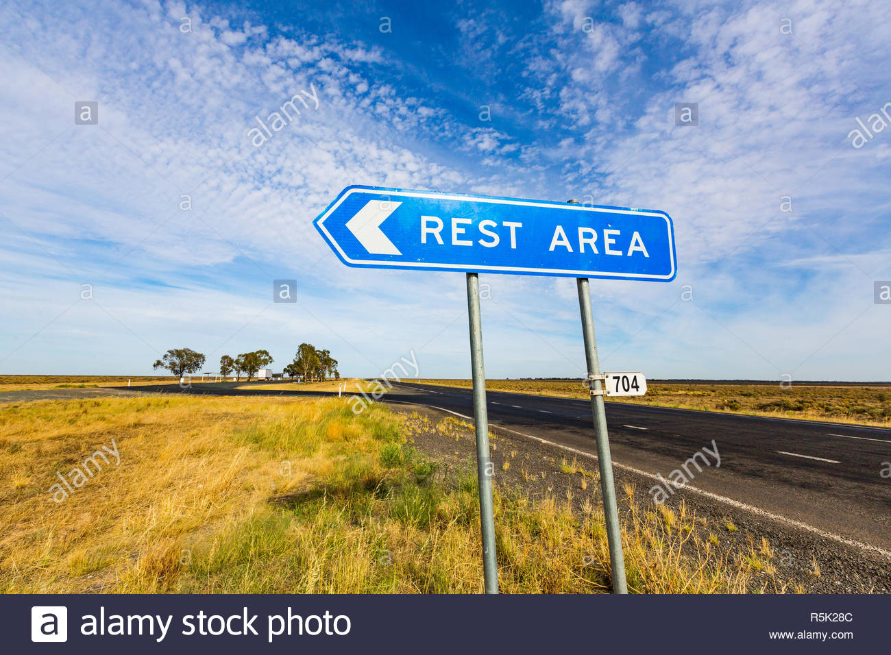 Road sign at a rest stop along the Sturt Highway, outback New South wales. - Stock Image