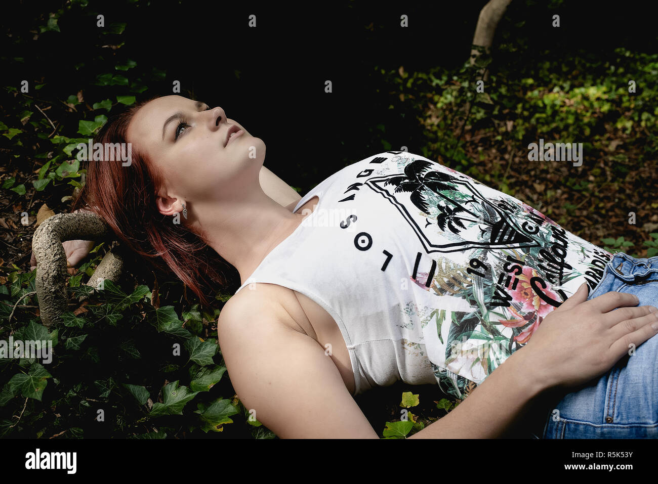 A young woman enjoys nature Stock Photo