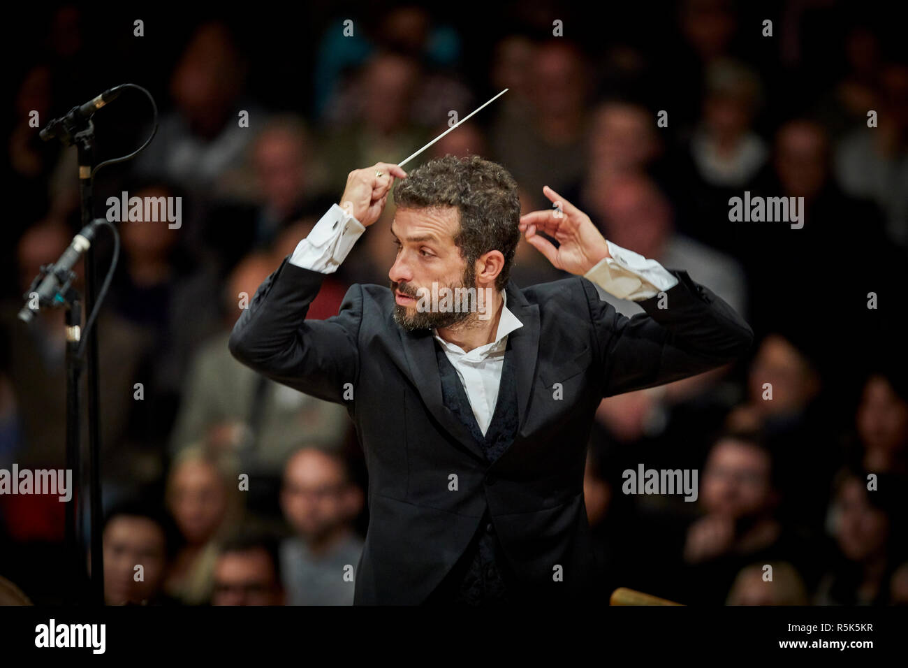 Israeli conductor Omer Meir Wellber becomes chief conductor of the BBC Philharmonic Orchestra, performing at  the Bridgewater Hall is Manchester - Stock Image