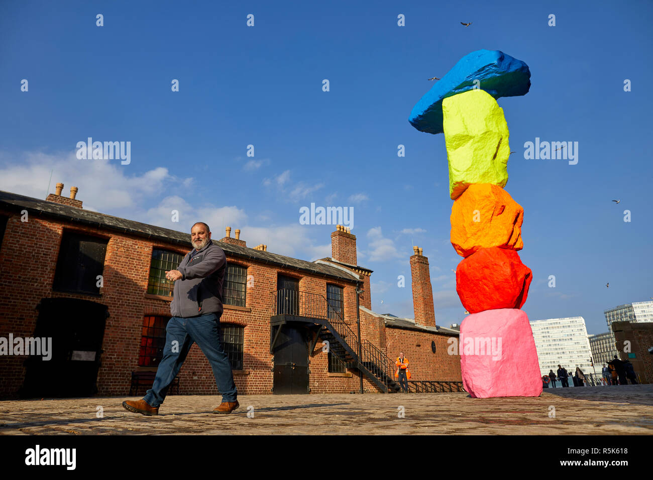 Liverpool Mountain public art on Liverpools waterfront by artist Ugo Rondinone Stock Photo