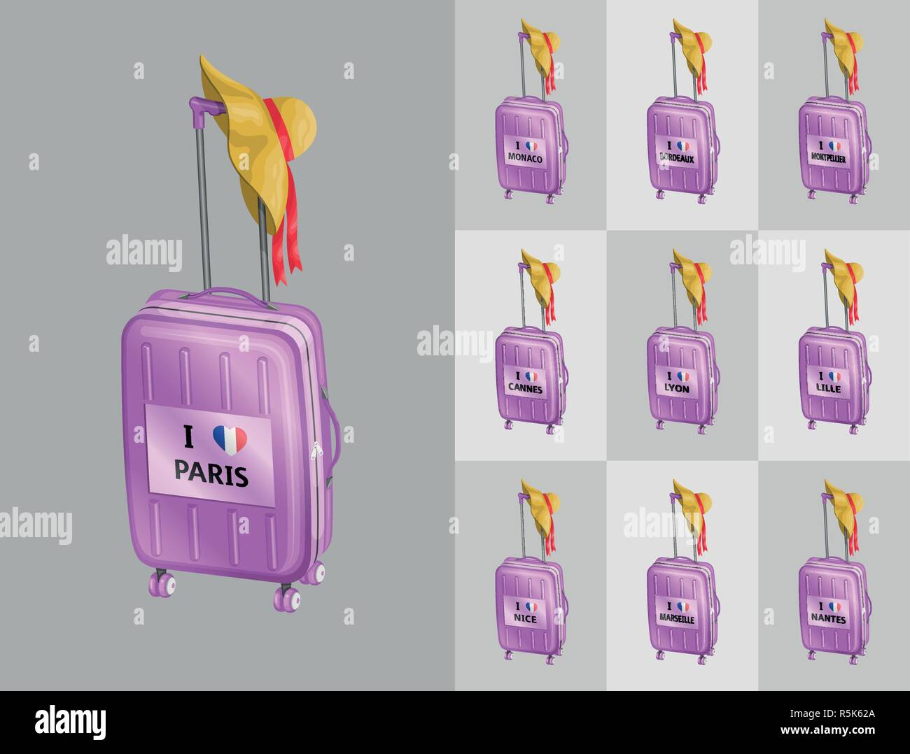 Tourist baggages with French beach hat for travel to France cities. All the objects are in different layers and the text types do not need any font. Stock Vector