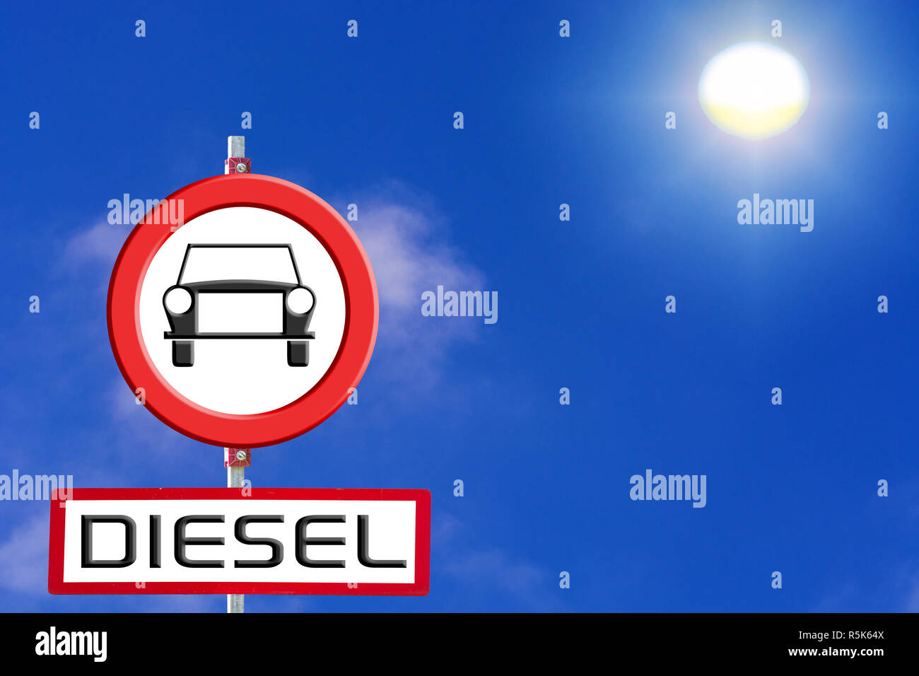 sign diesel cars banned from blue sky and sun. - Stock Image