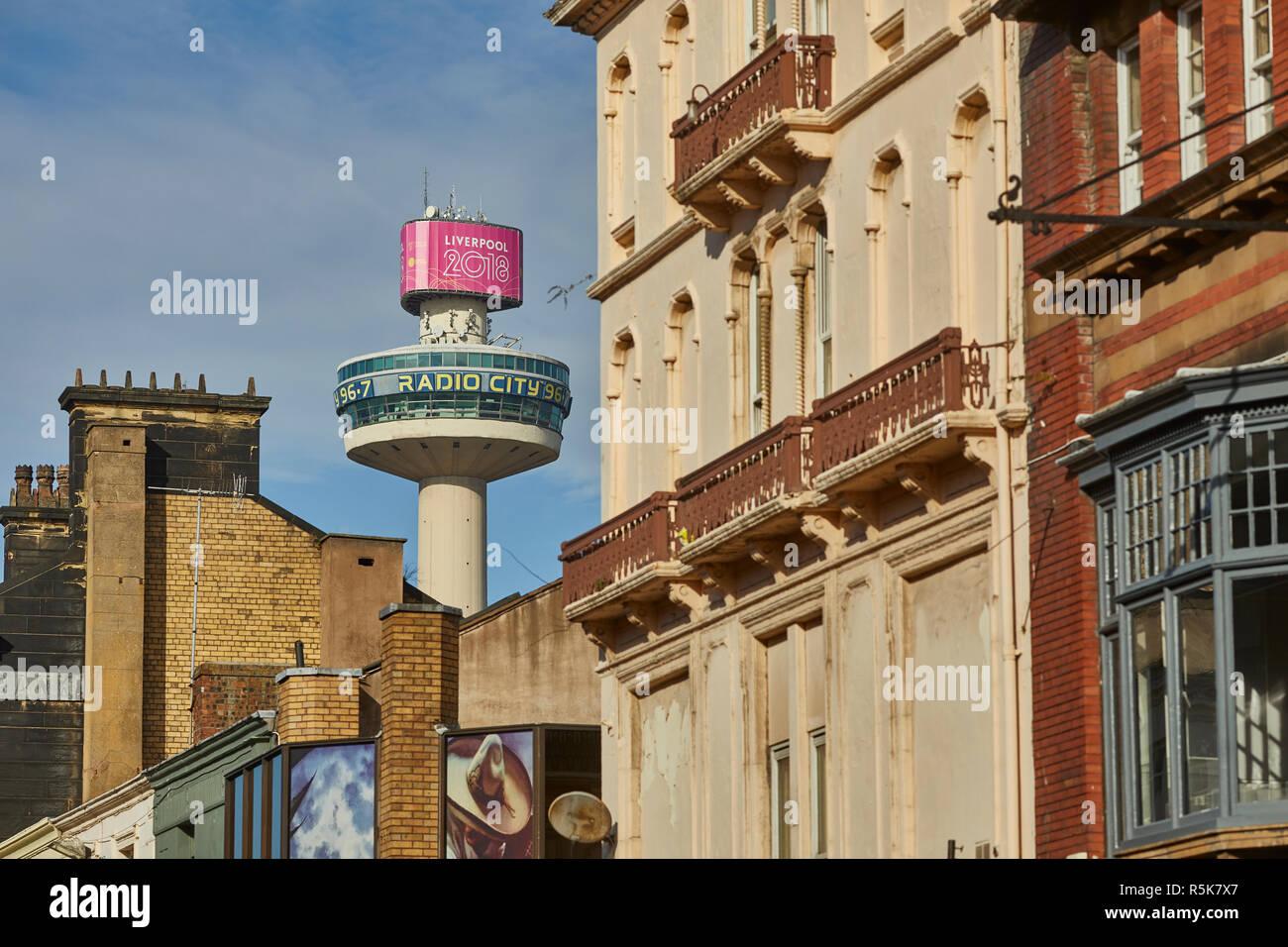 Liverpool city centre  Bold Street and Radio City Tower Stock Photo