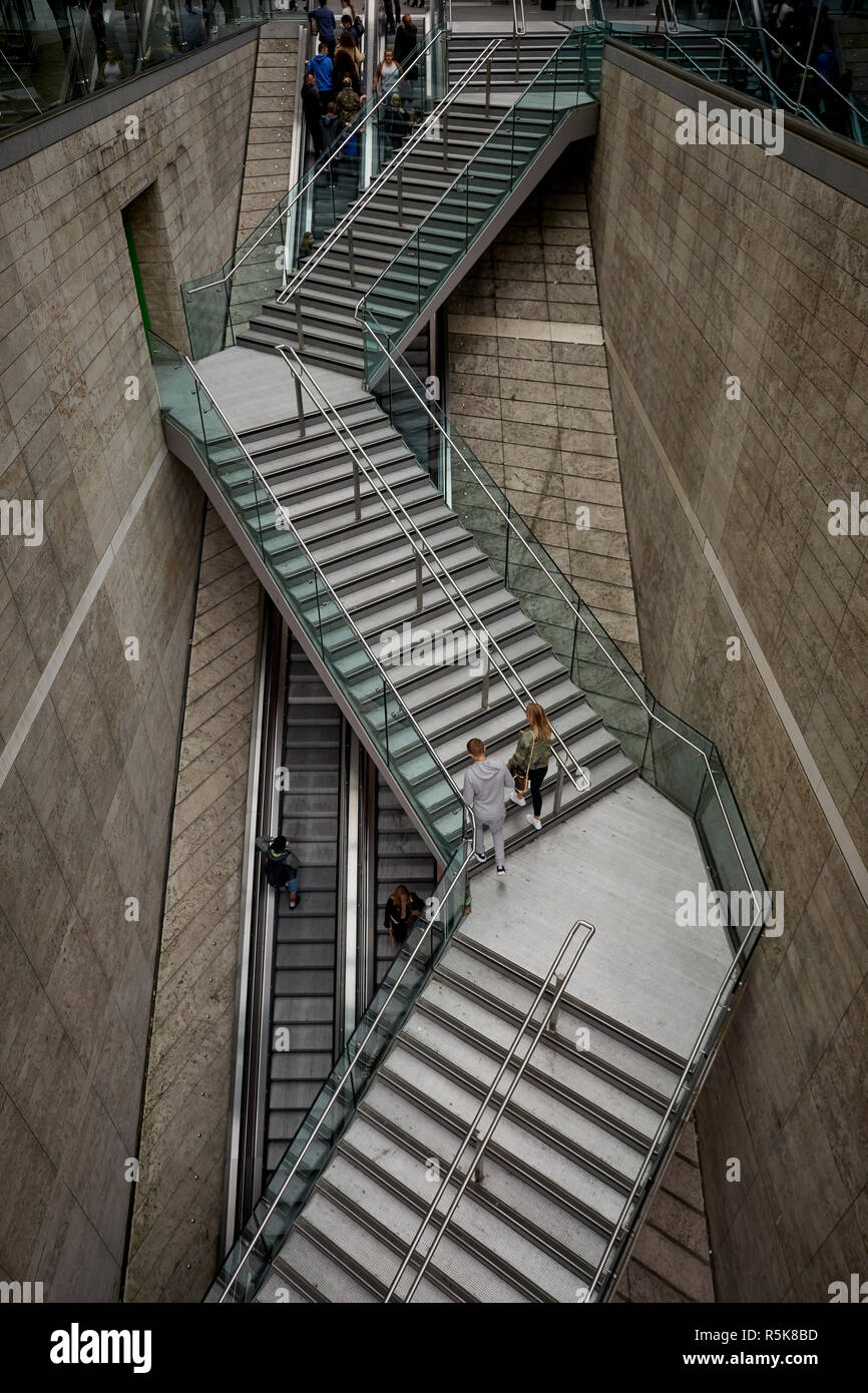 Liverpool city centre Liverpool One steps over the escalators - Stock Image