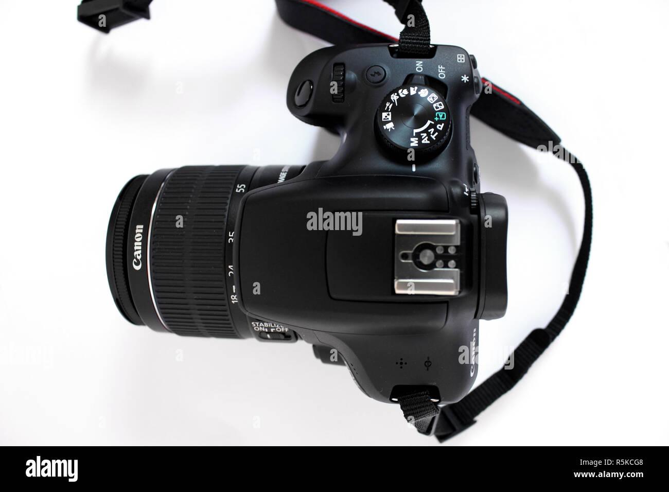 Camera Canon 1300d, lens efs 18-55mm, black, editorial, illustrative - Stock Image