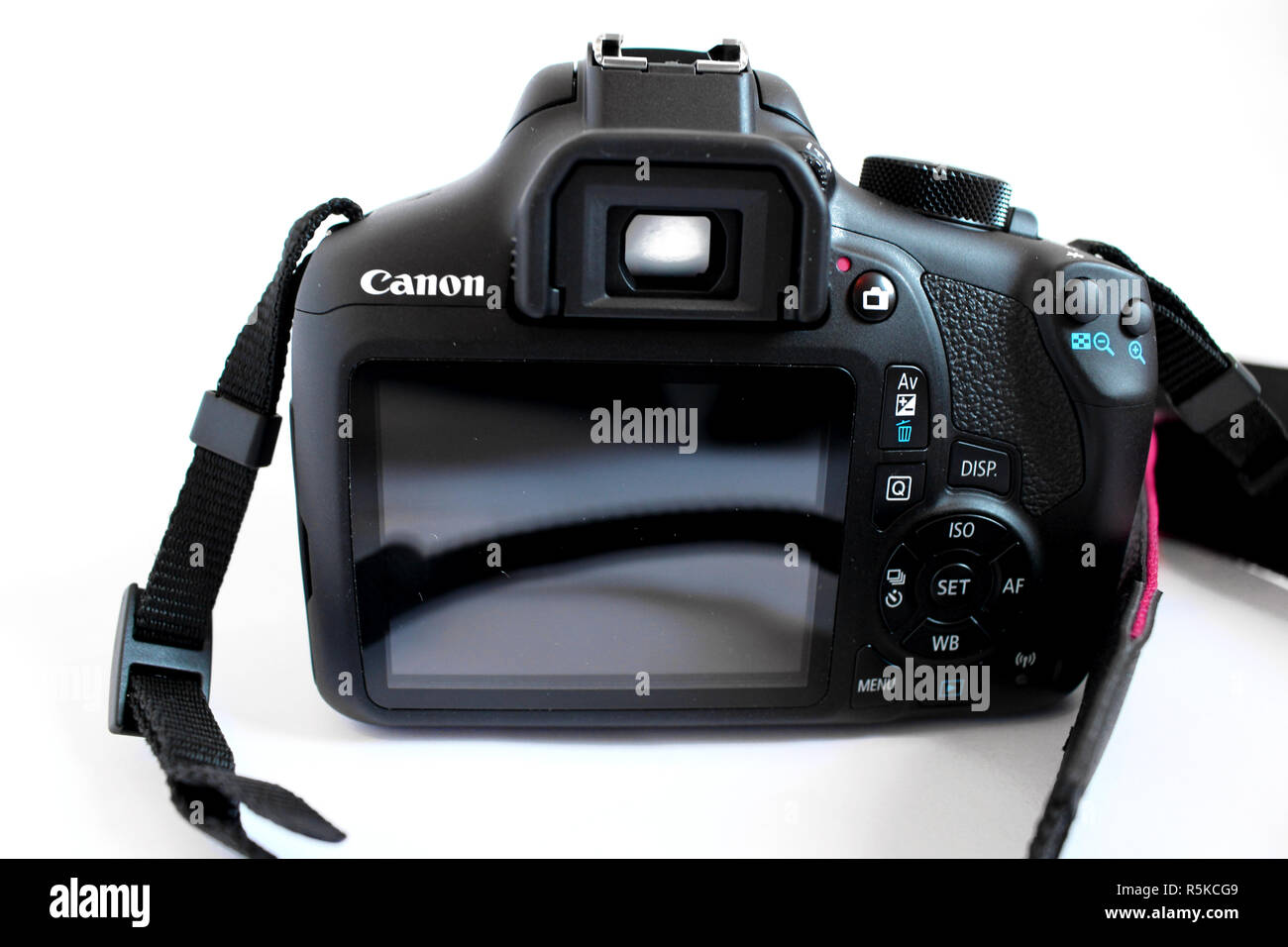 Camera Canon 1300d, lens efs 18-55mm, black, editorial, illustrative - Stock Image
