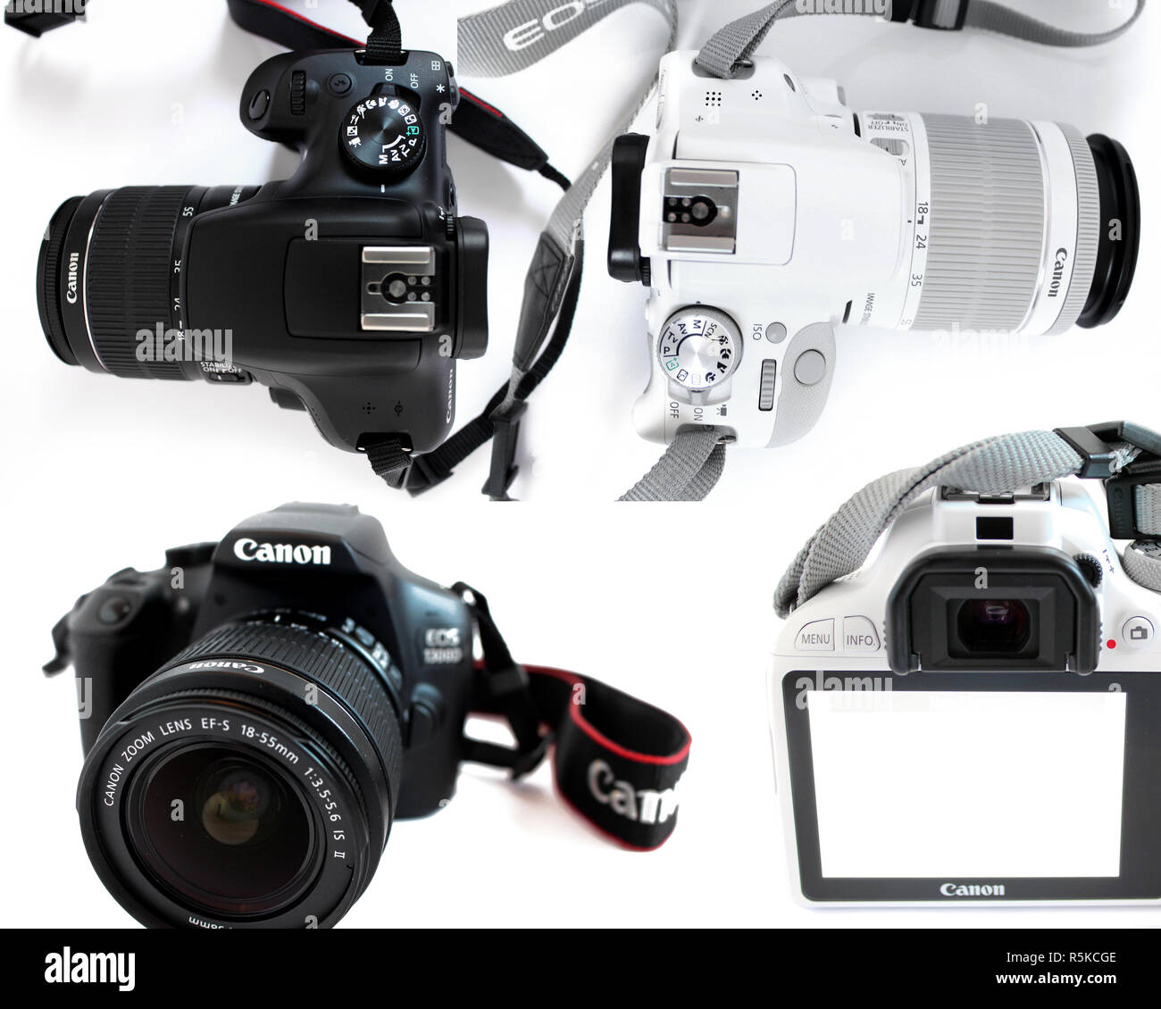 Camera Canon 1300d, Canon 100d eos, lens efs 18-55mm, black, white, editorial, illustrative - Stock Image