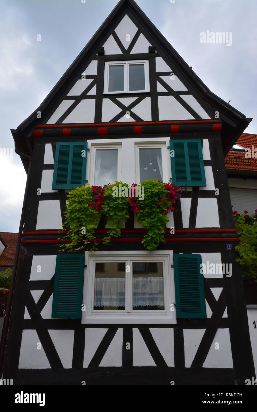 half-timbered house in hinterstädel jockgrim Stock Photo