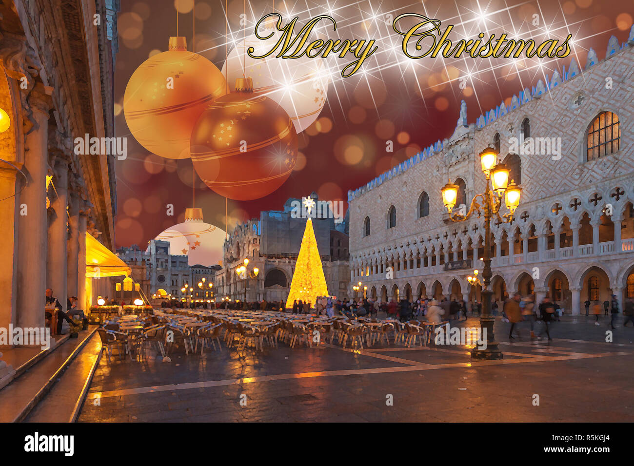 Christmas greetings card with Venice San Marco Square abstract background and fantasy sky - Stock Image