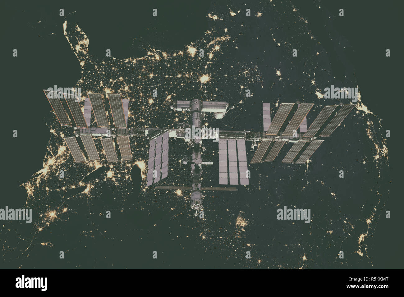 International Space Station over USA. - Stock Image