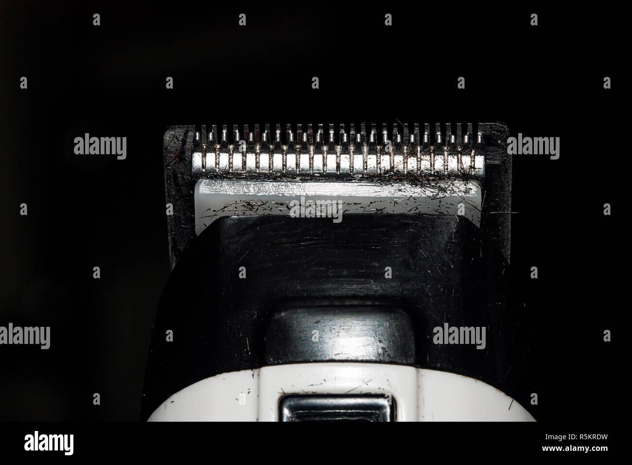 trimmer blade shaving machine macro  isolated silver Stock Photo