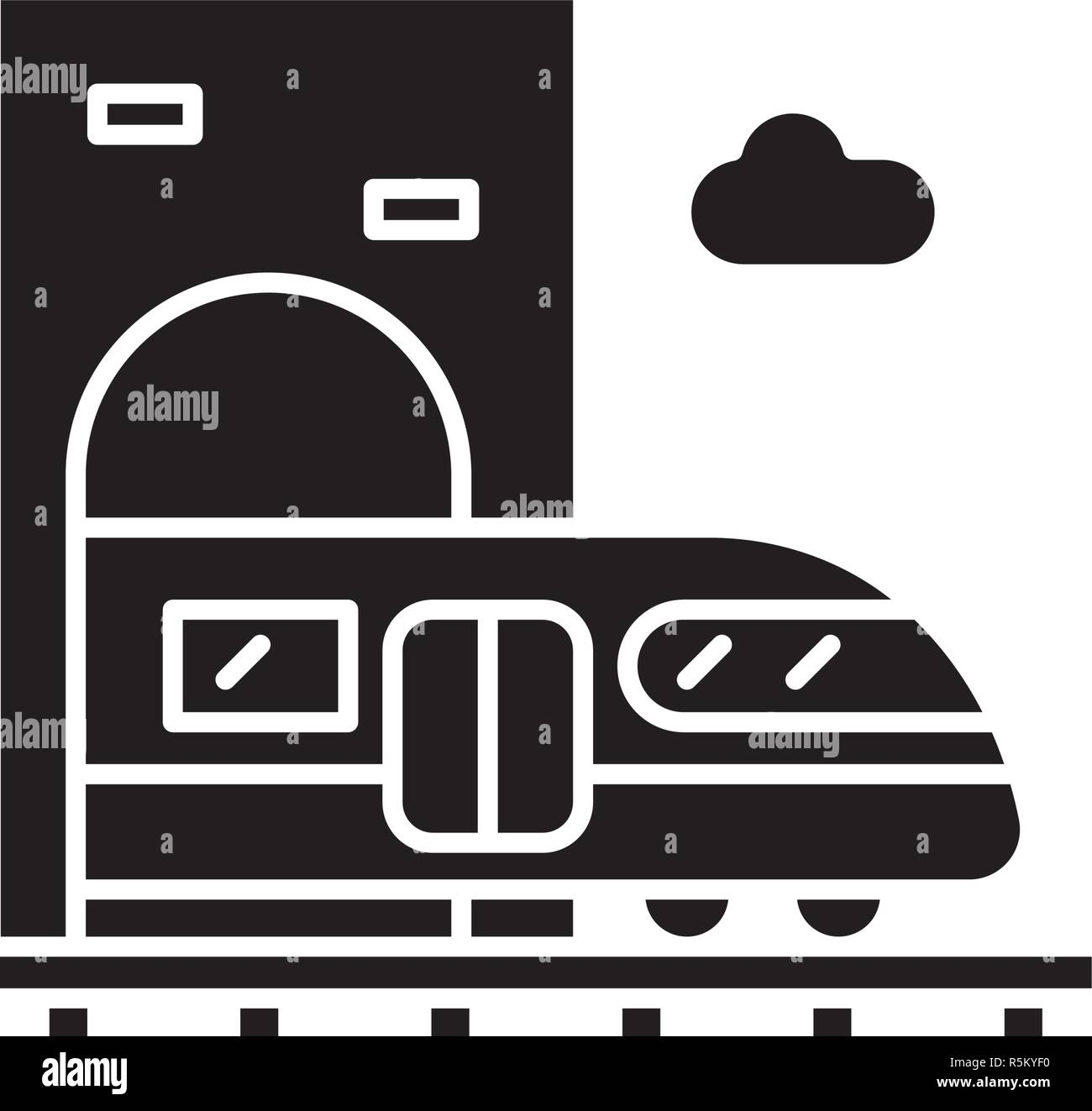 Train station black icon, vector sign on isolated background. Train station concept symbol, illustration  - Stock Vector