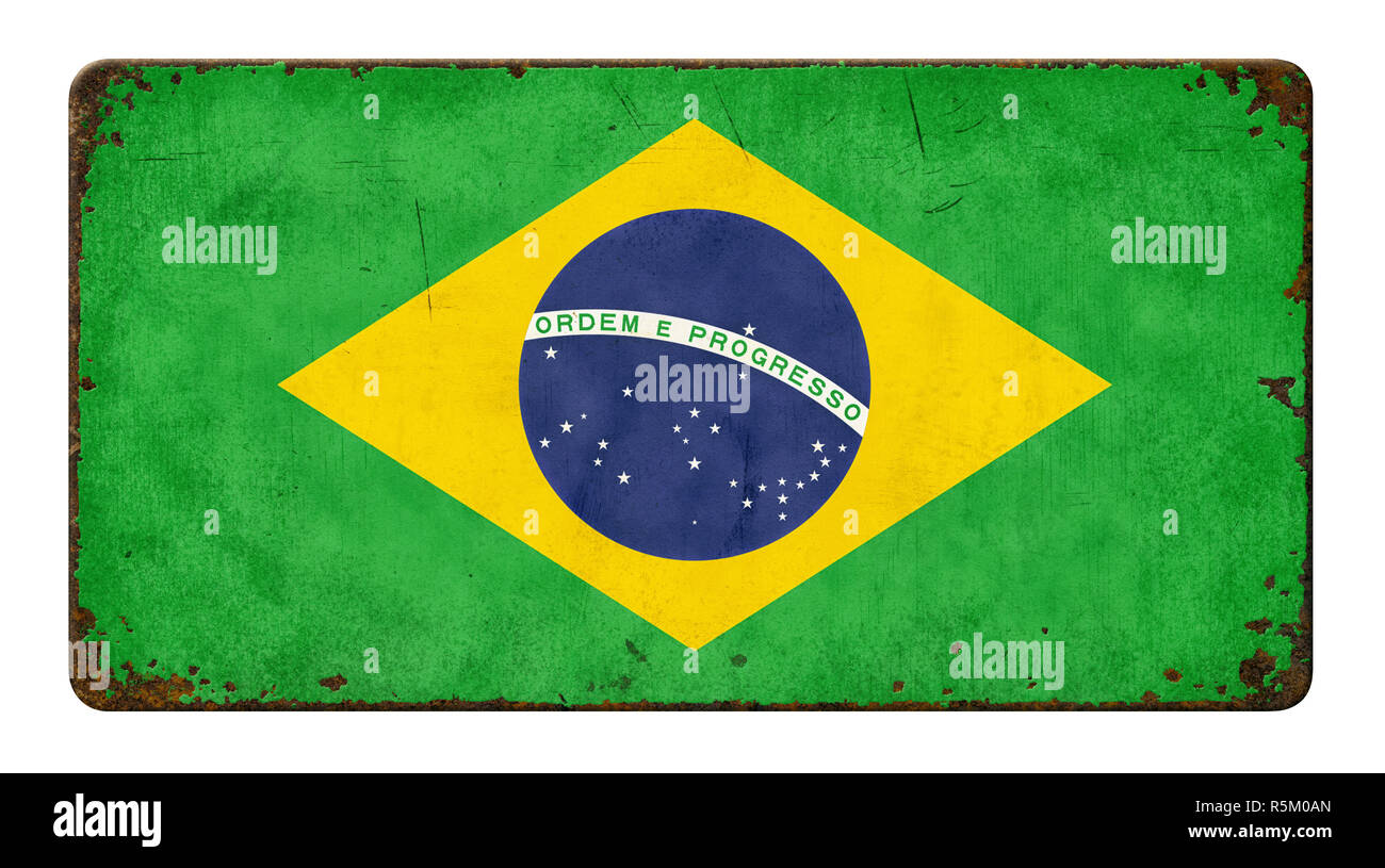 old rusted sheet metal shield - brazil flag Stock Photo