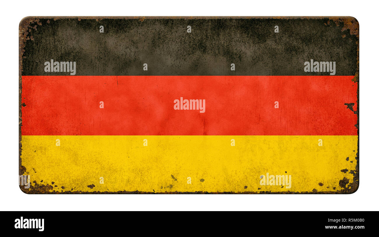 old rusted sheet metal shield - germany flag Stock Photo