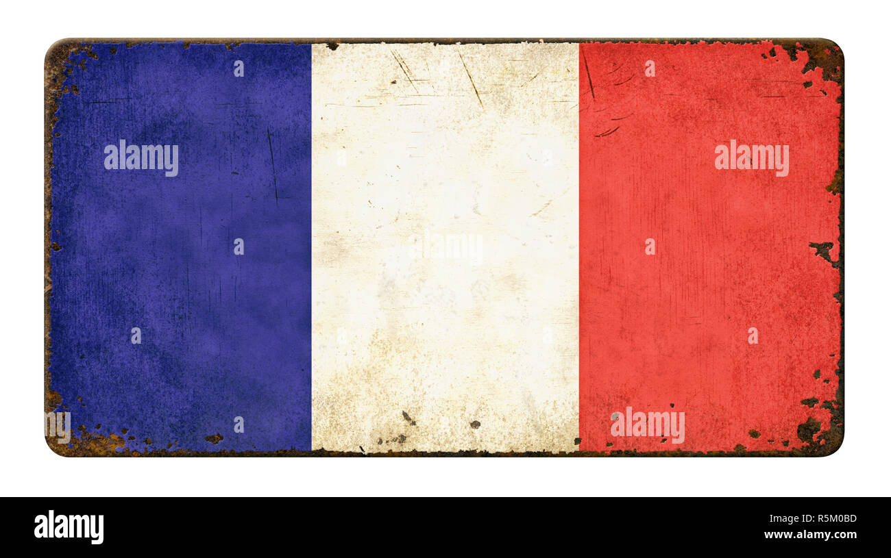 old rusted sheet metal shield - france flag - Stock Image