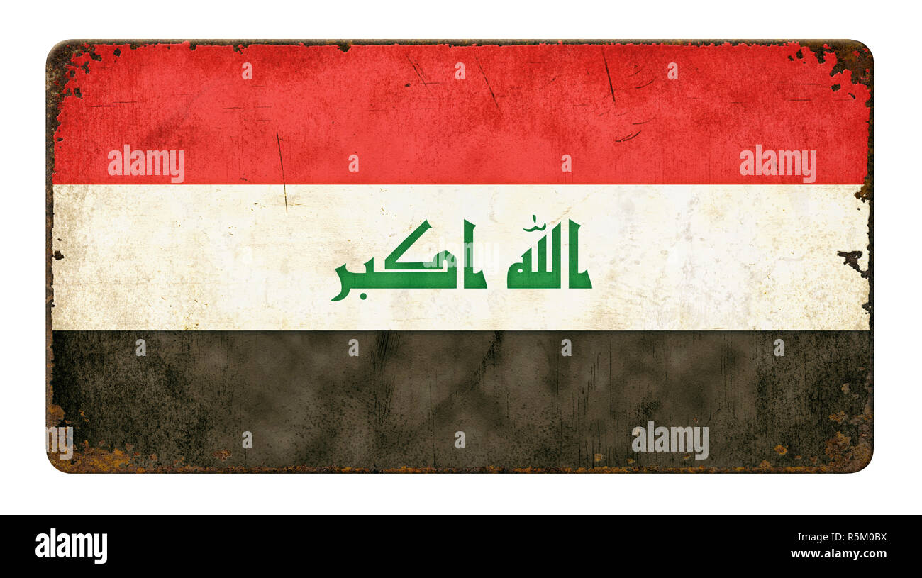 old rusted sheet metal shield - iraq flag Stock Photo