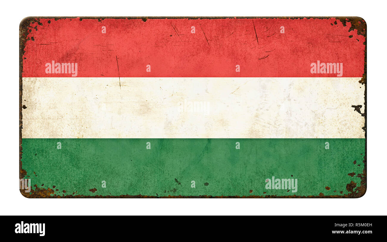 old rusty metal plate - flag hungary Stock Photo