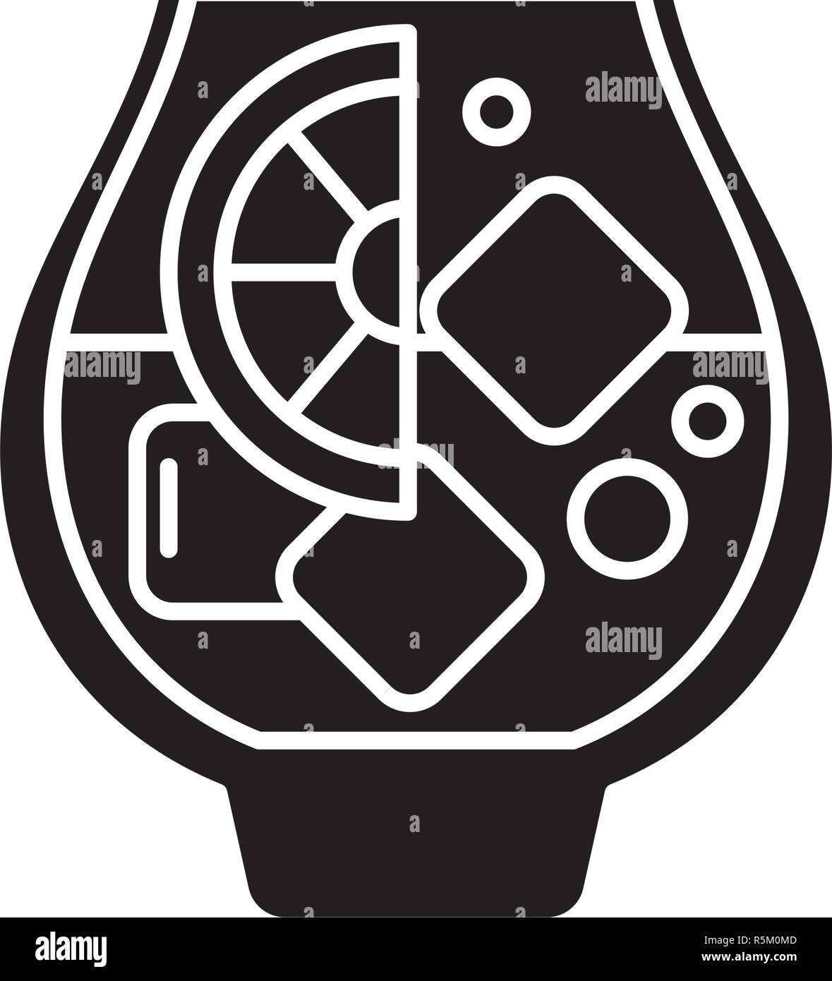 Brandy black icon, vector sign on isolated background. Brandy concept symbol, illustration  Stock Vector
