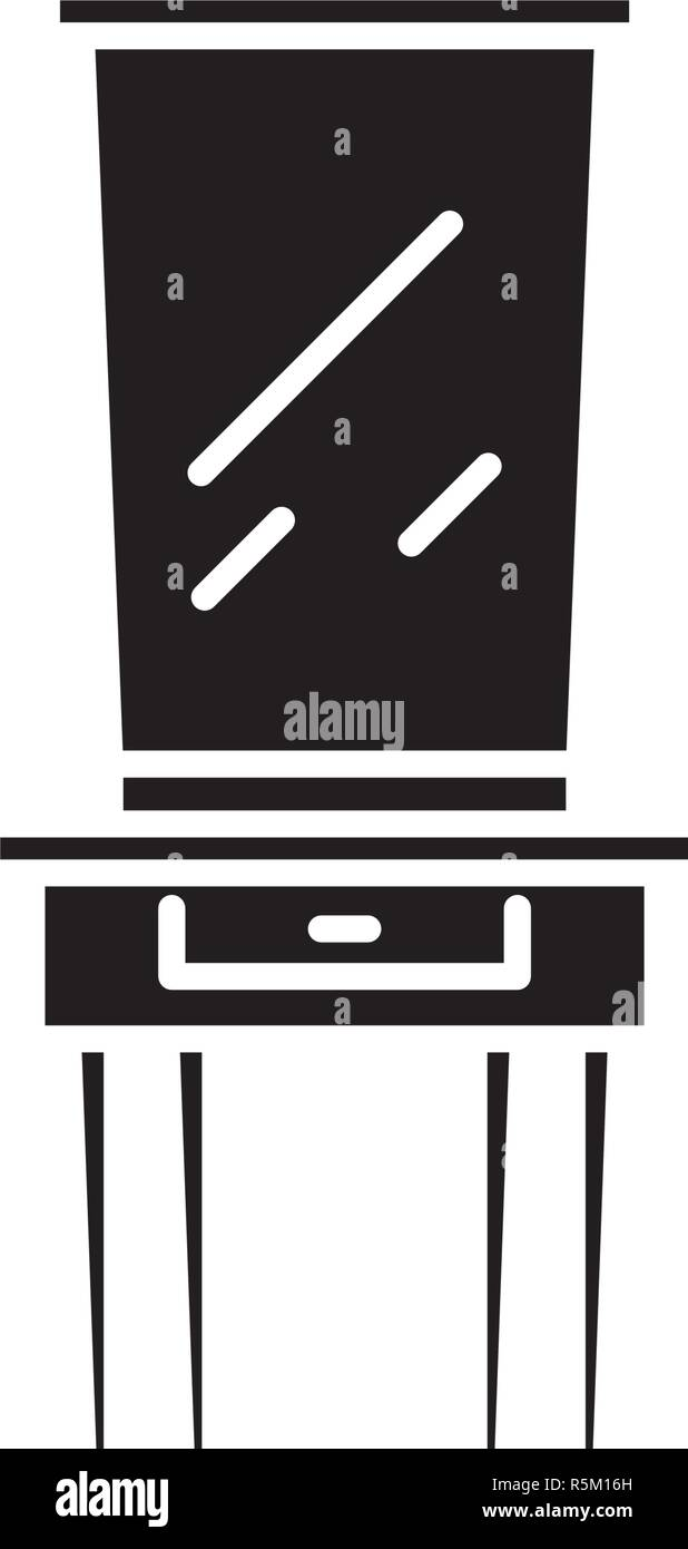 Dressing table black icon, vector sign on isolated background. Dressing table concept symbol, illustration  - Stock Vector