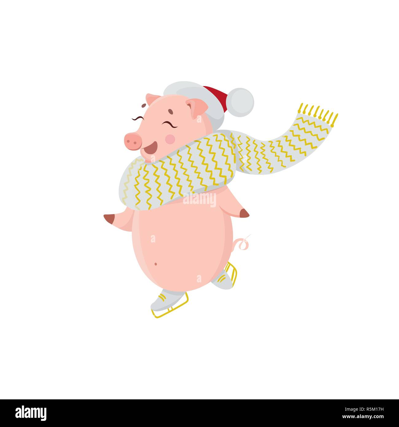 Happy pig on winter holidays. Cute character symbol of 2019. Stock Vector