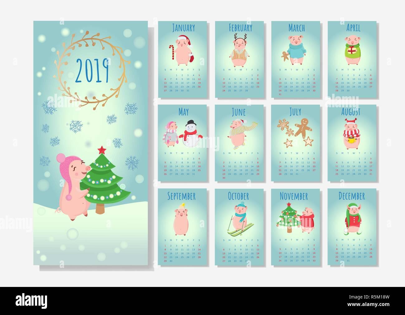 Christmas Holidays 2019 Calendar.Calendar With Christmas Holiday Piglets 2019 Winter