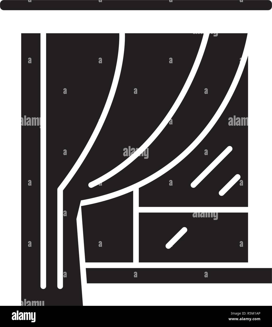 Curtains black icon, vector sign on isolated background. Curtains concept symbol, illustration  - Stock Vector