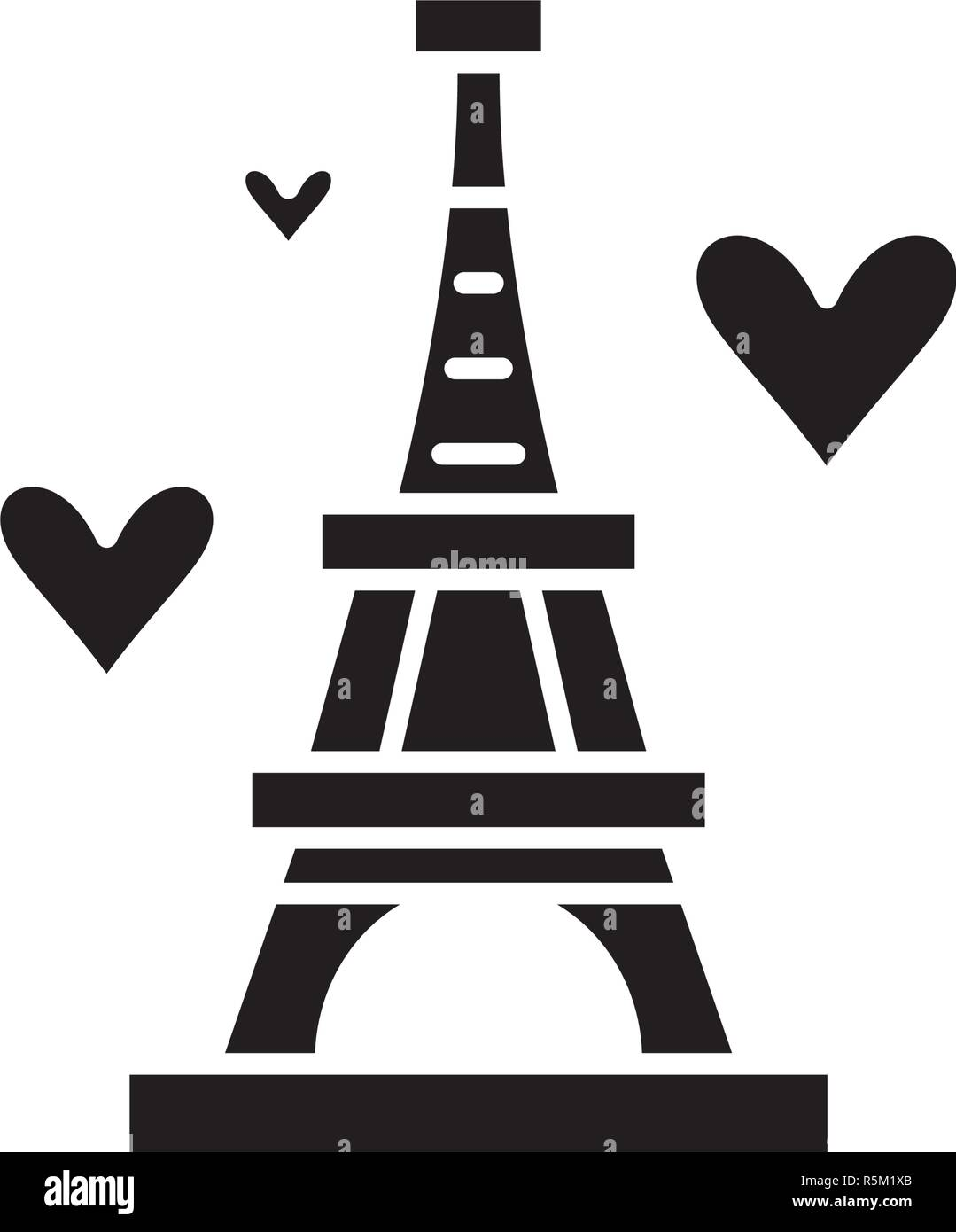 Eiffel tower black icon, vector sign on isolated background. Eiffel tower concept symbol, illustration  - Stock Vector