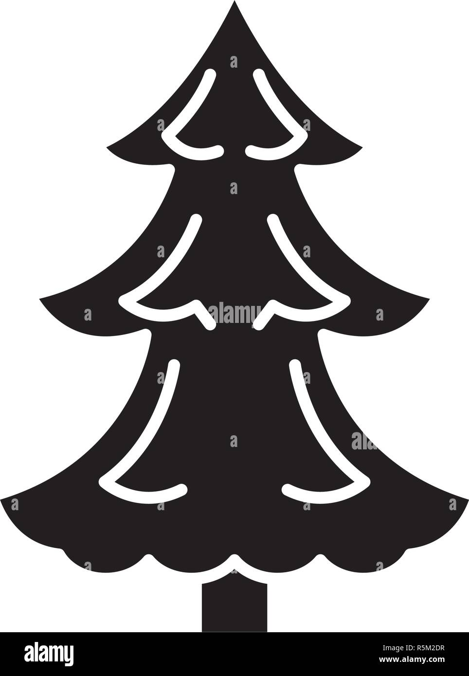 Christmas Tree Black Icon Vector Sign On Isolated Background