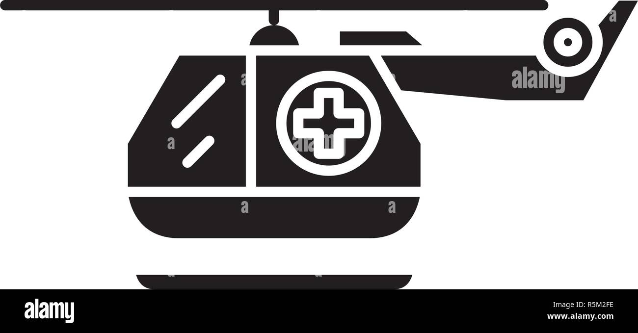 Ambulance helicopter black icon, vector sign on isolated background. Ambulance helicopter concept symbol, illustration  - Stock Vector