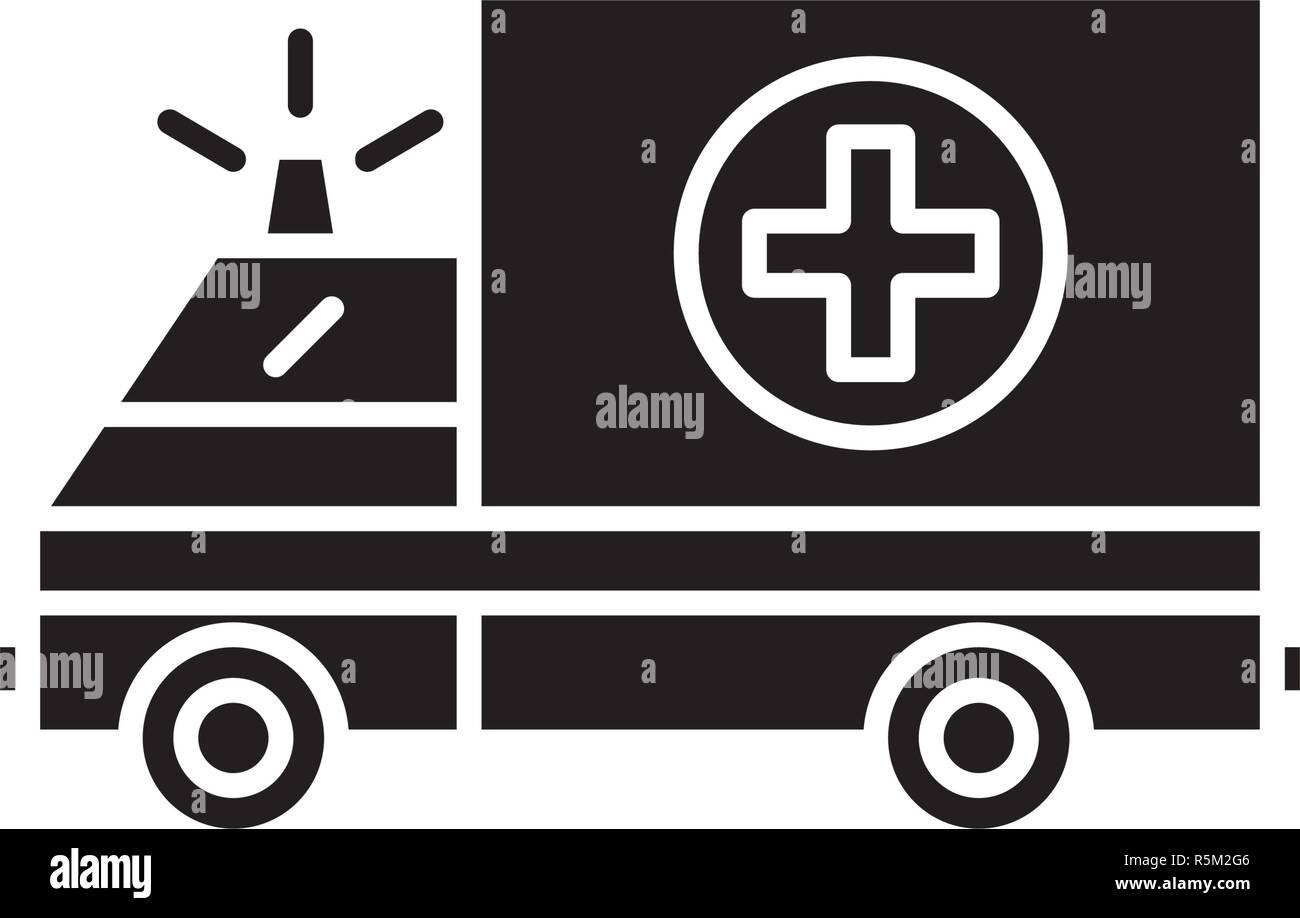 Ambulance black icon, vector sign on isolated background. Ambulance concept symbol, illustration  - Stock Image