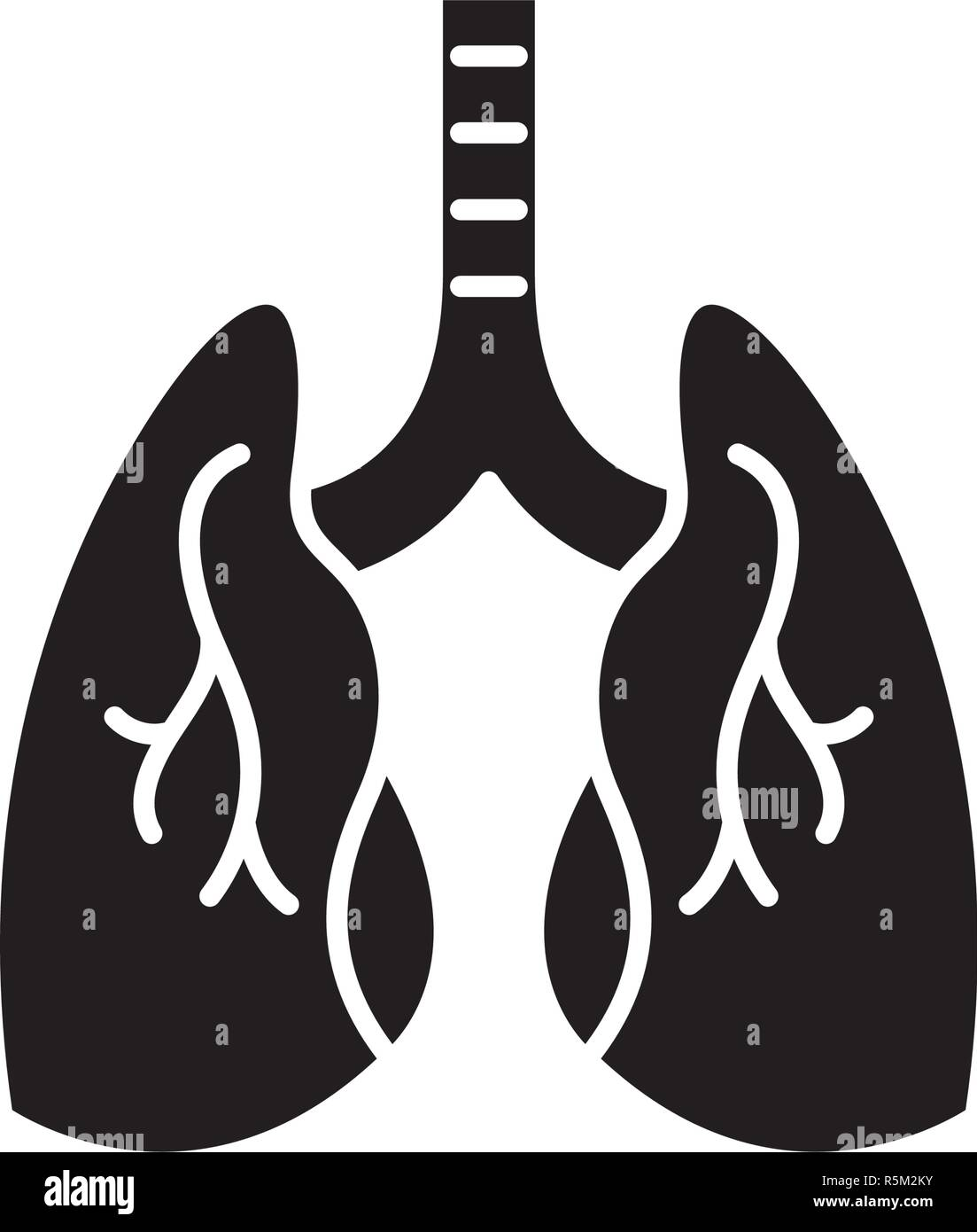 Lungs black icon, vector sign on isolated background. Lungs concept symbol, illustration  - Stock Image