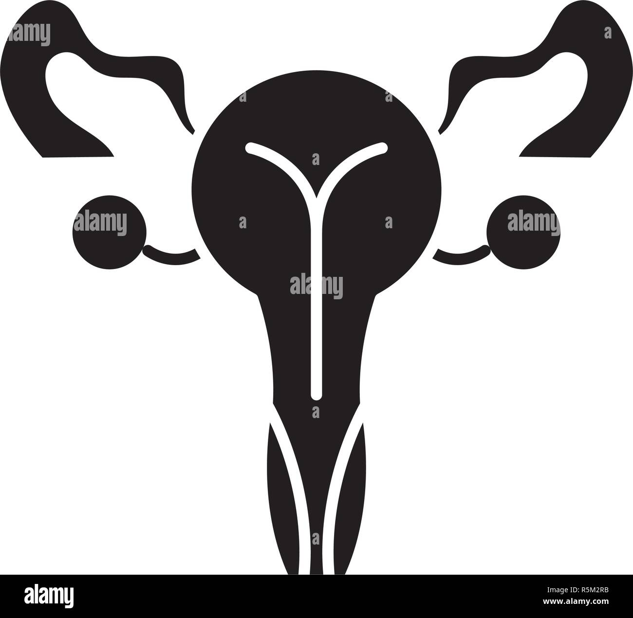 Female genitals black icon, vector sign on isolated background. Female genitals concept symbol, illustration  - Stock Image