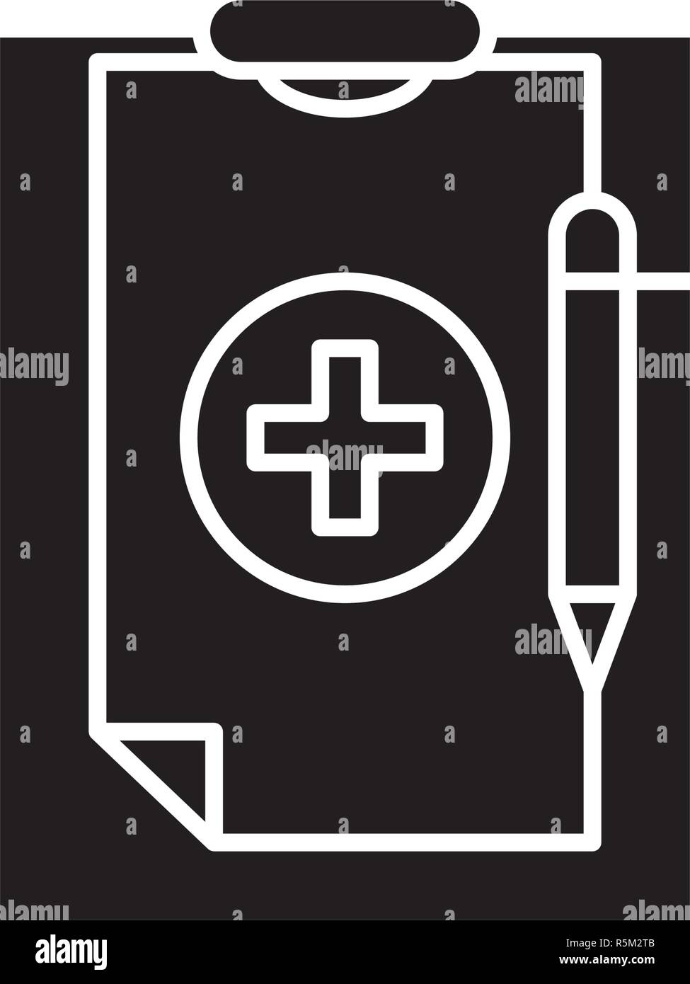Medical diagnosis black icon, vector sign on isolated background. Medical diagnosis concept symbol, illustration  - Stock Image