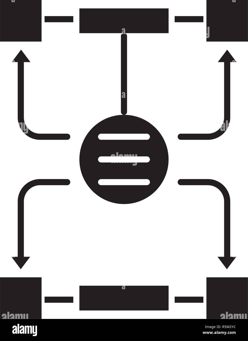 Algorithm of decisions black icon, vector sign on isolated background. Algorithm of decisions concept symbol, illustration  Stock Vector