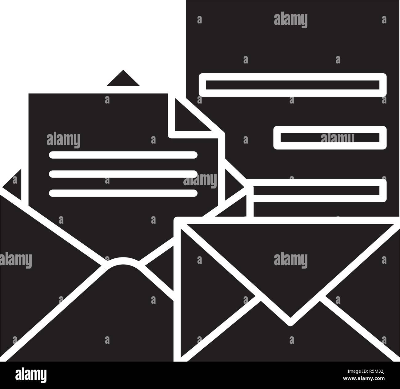 Direct marketing black icon, vector sign on isolated background. Direct marketing concept symbol, illustration  - Stock Image