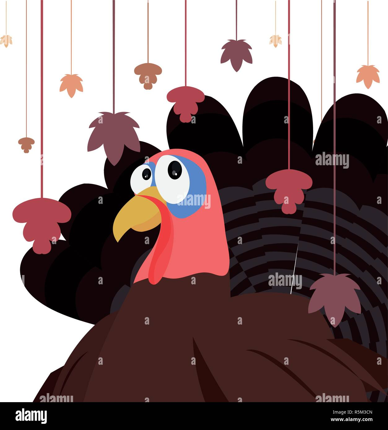 turkey and hanging leaves autumn thanksgiving vector illustration Stock Vector