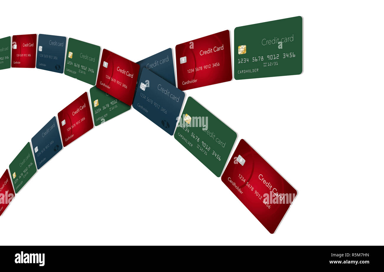 Lines of credit cards arc across the page leaving an area for text or graphic elements. This is an illustration. - Stock Image