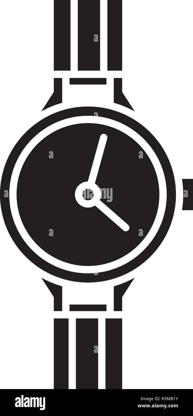 Chronometer black icon, vector sign on isolated background. Chronometer concept symbol, illustration  - Stock Image