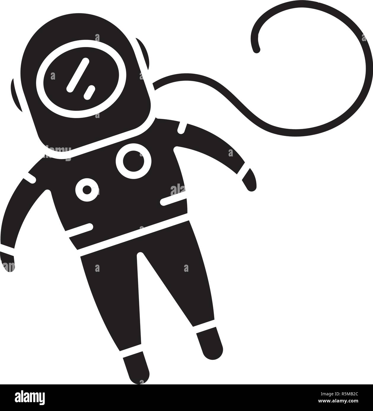 Cosmonaut black icon, vector sign on isolated background. Cosmonaut concept symbol, illustration  - Stock Image