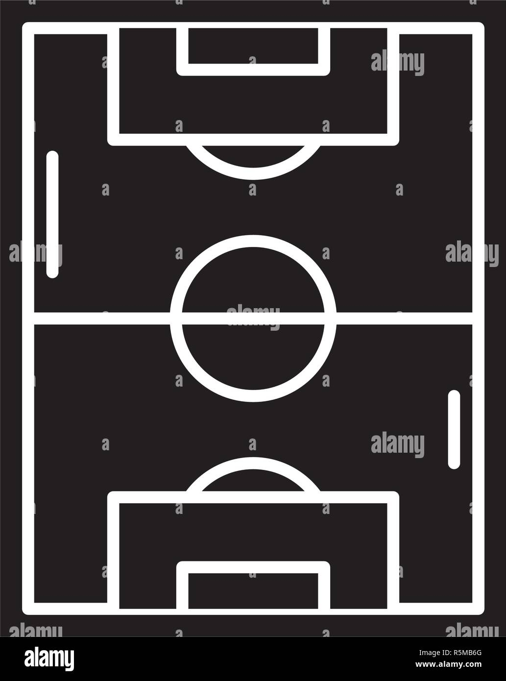 Football field black icon, vector sign on isolated background. Football field concept symbol, illustration  - Stock Vector